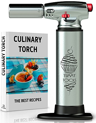 BEST CULINARY TORCH - Chef Torch for Cooking Crème Brulee - Aluminum Hand Butane Kitchen Torch – Blow Torch with Adjustable Flame – Cooking Torch – Perfect for Baking, BBQs, (Culinary Butane Torch)