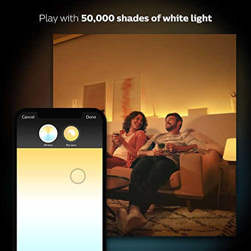 Large Product Image of Philips Hue White and Color Ambiance A19 60W Equivalent LED Smart Bulb Starter Kit (4 A19 Bulbs and 1 Hub Compatible with Amazon Alexa Apple HomeKit and Google Assistant)