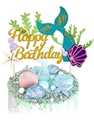 KUDES Glitter Mermaid Happy Birthday Cake Topper Cake Picks Decoration for Baby Shower Birthday Party Favors