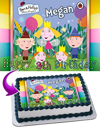 Ben & Holly's Little Kingdom Cake Topper Personalized Birthday 1/4 Sheet Decoration Custom Sheet Party Birthday Sugar Frosting Transfer Fondant Image ~ Best Quality Edible Image for cake ()