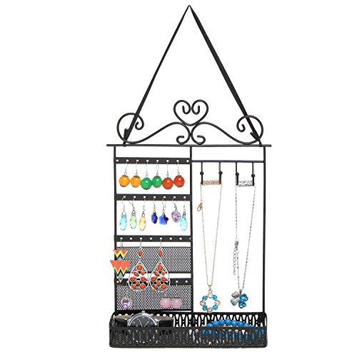 Black Metal Scrollwork Design Hanging Jewelry Organizer Rack with Storage Shelf – - Earrings Ball Vintage In