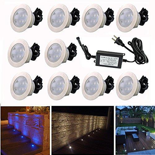 """10pcs Multi-color RGB 1W LED Deck Light Kit 2-2/5"""" Stainless"""