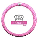 pink hubcaps - Ladies Car Steering Wheel Cover with Diamond Lattice Girly Classy Fashion Collection Car Steering Wheel Cover with Crown and Diamonds (QUEEN ONLY) (Pink)