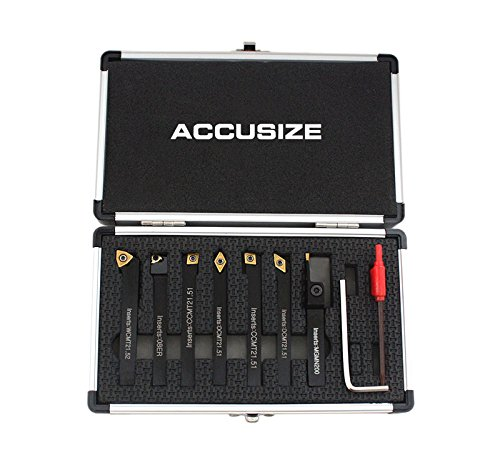 Accusize Industrial Tools 1/4'' Shank 7 Pc Indexable Carbide Turning Tool Set in Fitted Box, 2387-2001 ()