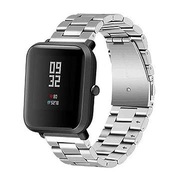 marcas reconocidas servicio duradero venta al por mayor Modaworld _Correa de reloj Correas xiaomi huami amazfit bip Pulsera de  Acero Inoxidable para Xiaomi Amazfit Bip Youth Watch Pulseras de Repuesto  Reloj ...