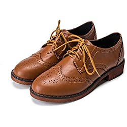 db7b9a7a549f Meeshine Women s Perforated Lace-up Wingtip Leather Flat Oxfords Vintage Oxford  Shoes Brogues Brown Size