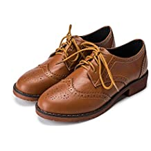 Meeshine Womens Perforated Lace-up Wingtip Leather Flat Oxfords Vintage Oxford Shoes Brogues