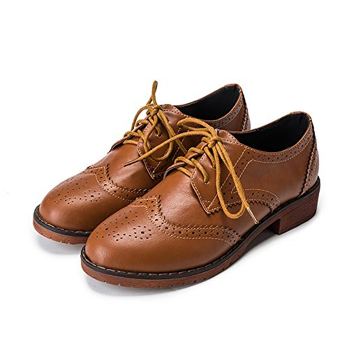 Meeshine Women's Perforated Lace-up Wingtip Leather Flat Oxfords Vintage Oxford Shoes Brogues Brown Size 7 (Oxford Slip Heels)