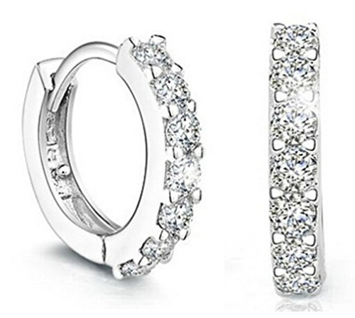 - AMBESTEE Women Girls Men Fashion Jewelry 925 Diamond Rhinestones Sterling Silver Hoop Sports Earrings Studs Set