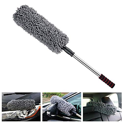 Lupure Car Big Duster Wash Brush, Long Retractable/Soft/Non-Slip/Handle to Trap Dust and Pollen Microfiber,Grey by Lupure (Image #7)