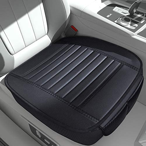 Sunny color 2pc Filling Bamboo Charcoal Edge Wrapping Car Front Seat Cushion Cover Pad Mat for AutoPU Leather(Black) / Sunny color 2pc Filling Bamboo Charcoal Edge Wrapping Car Front Seat Cushion Cover Pad Mat for AutoPU Leather(Bl...