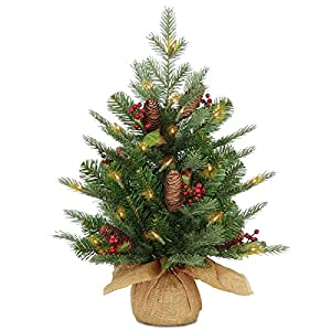 National Tree Nordic Spruce Tree with Cones, Red Berries and 50 Battery Operated Warm White LED Lights with Timer 75