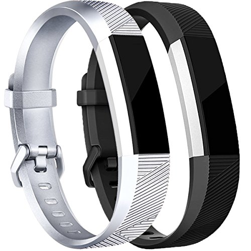 Tobfit Replacement Bands Compatible for Fitbit Alta, Alta HR, Alta Ace Fitness Tracker Wristbands Small, Silver, Black