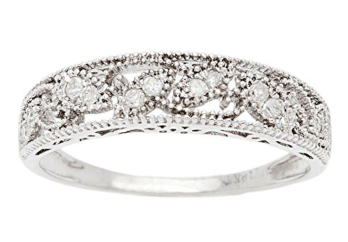 10k White Gold Vintage-Style Diamond Anniversary Band (0.08 cttw, I-J, I2-I3) Antique Vintage Wedding Bands