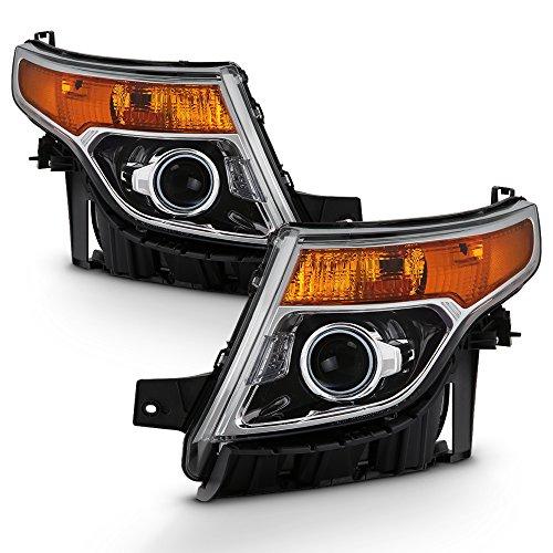 - For 2011-15 Ford Explorer Driver + Passenger Projector Headlight Assembly Chrome Housing Clear Lens Full Set