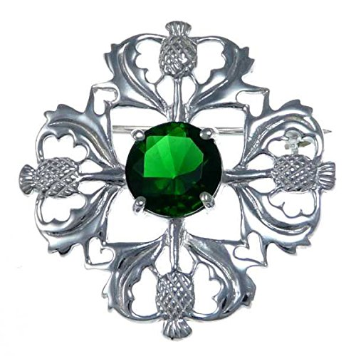 Green Thistle (Sterling Silver Green Stone Thistle Brooch - Scottish Pin)