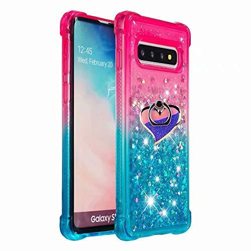 iPod Touch 6/ Touch 5 Case,Air Cushion Design 3D Rotating Kickstand [Gradient Quicksand] Glitter Liquid Quicksand Flowing Sparkle Flexible TPU Case for iPod Touch 5th/6th/7th Generation(Cushion-16) ()