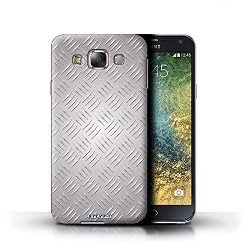 Coque de Stuff4 / Coque pour Samsung Galaxy E7/E700 / Argent Design / Motif en Métal en Relief Collection