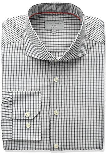 English Threads Men's Slim Fit Mini Check Dress Shirt, Black, 15.5