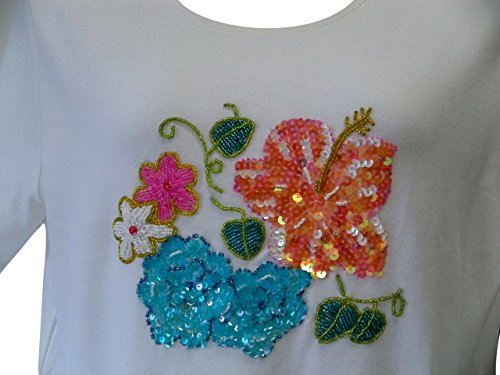 Paradiso Women's Beaded Tee Shirts Plus Size (1X, Multi-Color Flowers)
