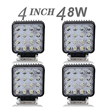 4pcs 48w 4in barra led flood faros antiniebla luces de marcha atrás largo alcance faros de