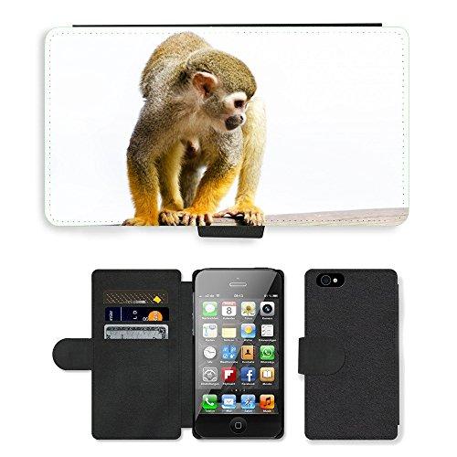 Just Phone Cases PU Leather Flip Custodia Protettiva Case Cover per // M00127565 Singe écureuil Amazon Rainforest // Apple iPhone 4 4S 4G