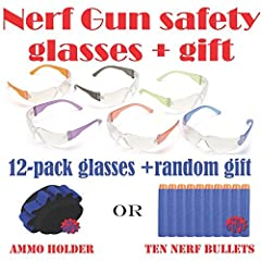 12-Pack Of Mulit-Colored Safety Glasses With Clear Lenses For Mad Scientist Kids Parties: These are actually industrial/jobsite ANSI Z87 / OSHA approved safety glasses, however we have found that thousands of parents purchase them for kids pa...