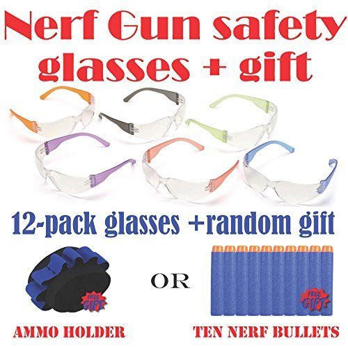 12pak Safety Glasses for Nerf Gun Kids Party - Clear Lens w/Multi-Colored ()