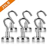 6PCS Magnetic Hooks, Premium 25LB Neodymium Heavy Duty Magnetic Hooks,Indoor/Outdoor Magnet Hanging Hook for Home, Kitchen, Workplace, Office and Garage