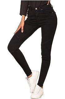 8d04d6e41d Nina Carter Mujer Vaqueros Biker Pitillos Pantalones Jeans Estilo  Motociclista Talla 34 a 42