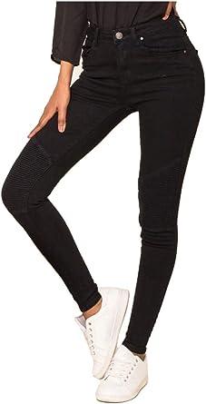Nina Carter Mujer Vaqueros Biker Pitillos Pantalones Negro Jeans Estilo Motociclista Talla 38 Amazon Es Ropa Y Accesorios