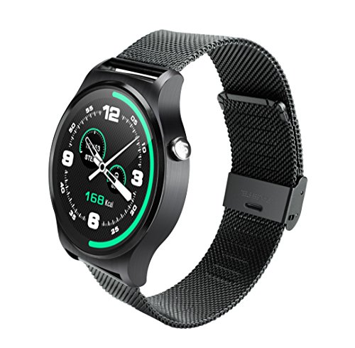 SEPVER All-in-1 GW01 Smart Watch Full Round IPS Screen Bluetooth 4.0 Heart Rate Monitor Pedometer compatible with iPhone 7 iPhone 6s iPhone 6 and Android smart phone (Black Metal)