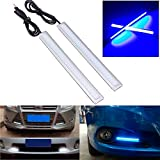 CHAMPLED 2X Car COB LED Daytime Running Driving Light Strip Lamp DRL Daylight 14cm Color Blue For BMW M BENZ AUDI VW VOLKSWAGEN VOLVO JAGUAR PORSCHE