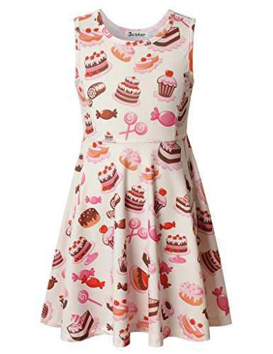Jxstar Big Girls' Sweet Candy Printed Skater Princess Sleeveless Strawberry Cake Dress Candy 140 (Cupcake Costume Pattern)