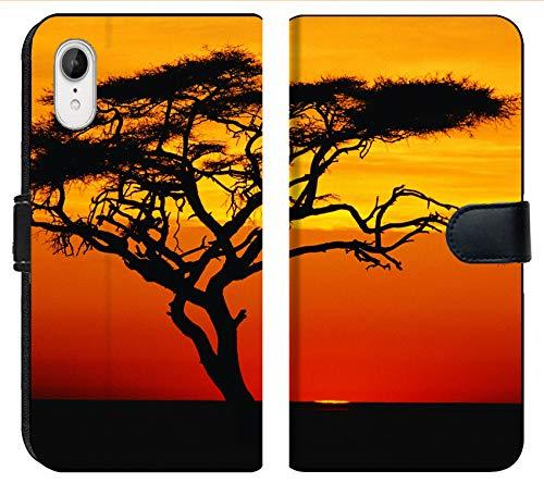 Apple iPhone XR Flip Fabric Wallet Case Image of Tree Sunset Sun Nature Landscape Africa Sunrise Silhouette Sky Safari Tourism African Beauty Acacia trav