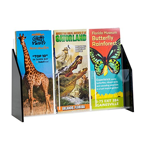 3 Fold Brochure - Source One Deluxe Black Acrylic Brochure Holders for Tri-Folds, Multiple Sizes Available (1 Pack, 3 Pocket)