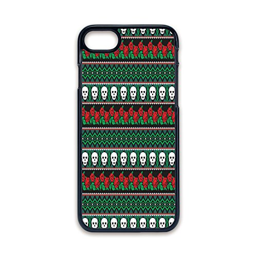 - Phone Case Compatible with iPhone7 iPhone8 Black Edge Fashion Personality,Skulls Decorations,Mexican Folk Art Skulls and Roses Knitted Pattern,Hard Plastic Phone Case