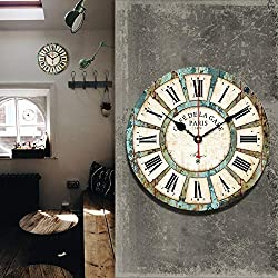 MeterMall Arts for hss 12` Vintage Roman Numeral Design France Paris Rusted Metal Look French Country Tuscan Style Paris Wood Wall Clock