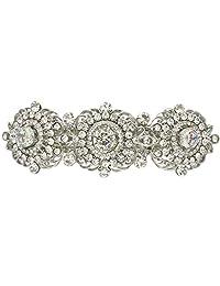Ever Faith Silver-Tone Cubic Zirconia Crystal Wedding Art Deco Flower Hair Barrette Clip Clear N05550-1