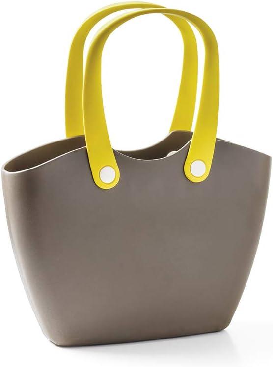 GF Garden FOR The Living Bag Bolso de plástico, de hombro, shopper, con asas ergonómicas, colorido, Marrón barro