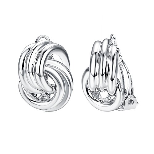 Yoursfs Vintage Silver Tone Twisted Knot Earrings for Women 18k White Gold Plated Clip on Earrings (Silver Tone Clip)