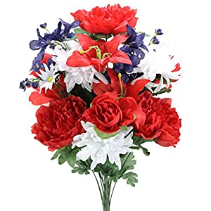 Admired By Nature Artificial 24 Stem Peony, Lily, Mum Mixed Bush, Red/White/Blue 9