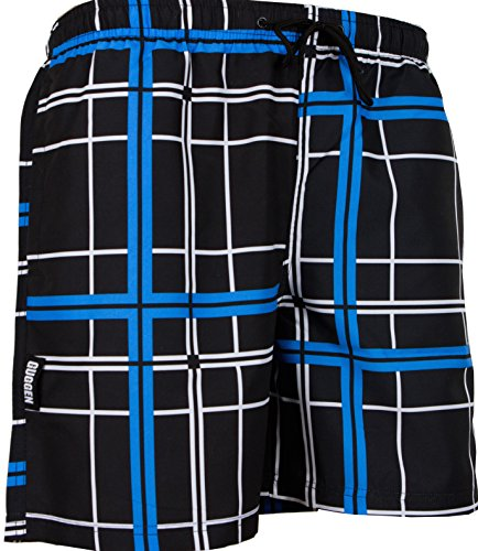 GUGGEN Men's swimming trunks swim shorts checked Print Colour Black XL