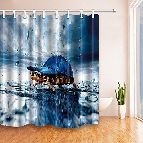 [NYMB The tortoise back cap in blue rain 69X70 inches Mildew Resistant Polyester Fabric Shower Curtain Set Fantastic Decorations Bath Curtain] (Vertical Rain Cap)