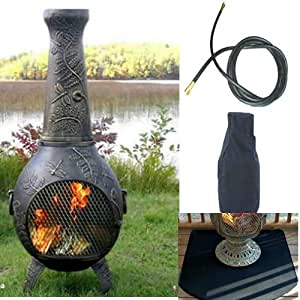 QBC Bundled Blue Rooster Dragonfly Chiminea with Natural Gas Kit, Half Round Flexbile Fire Resistent Chiminea Pad, Free Cover, and 10 ft Gas Line Gold Accent Color - Plus Free EGuide