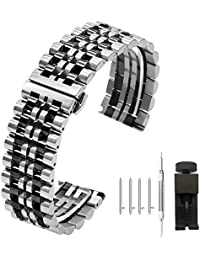 Two Tone Quick Release 22mm Watch Band Polished Finish Silver IP Black Watch Wrist Strap 7 Rows Sport Bracelet Mens Metal Band Deployment Butterfly Buckle