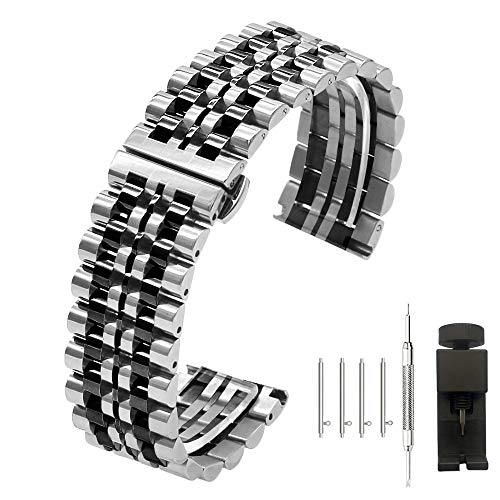 - Two Tone 20mm Watch Band Polished Finish Silver IP Black Stainless Steel Strap for Men Women - Deployment Butterfly Clasp - Quick Release Bracelet