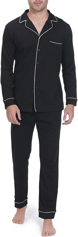 Indefini Mens Pajama Sets Long Sleeve Button Down Sleepwear Loungewear Men Pjs, Size S-XL