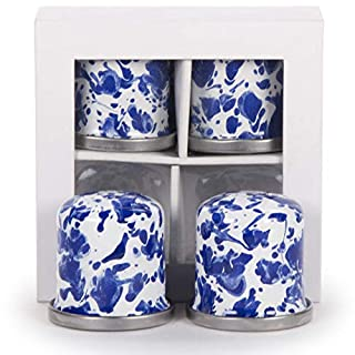 Golden Rabbit Enamelware - Cobalt Blue Swirl Pattern - Set of 2 Pair - Salt and Pepper Shakers