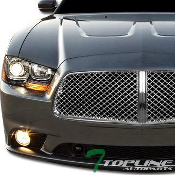 Chrome Mesh Bentley Grille (Chrome Bentley Style Mesh Front Hood Bumper Grill Grille Dodge Charger)